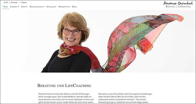 website Konstanze Quirmbach, Beratung und LifeCoaching